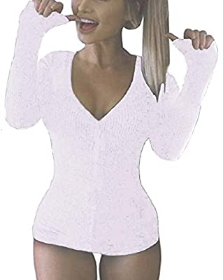 Moxeay V-Neck One Piece Bodysuit Bodycon Rompers Overall (Large, White)