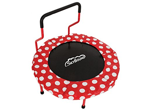 SkyBound 40 inch Children's Mini Trampoline, Red with White...