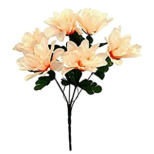 1 Bouquet of 6 Dahlia Wedding Bouquet Fake Faux Artificial Silk Flowers Peach/Beige
