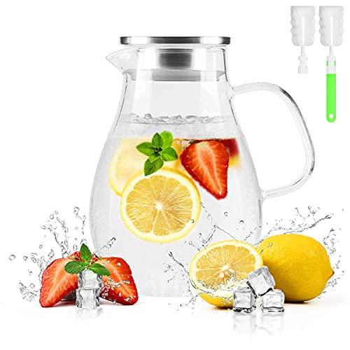 Hervidor de vidrio frío de 1,5 litros con tapa estática de acero inoxidable 304 tetera con agua caliente y fría de gran capacidad de vino, café, jugo de leche Beverage Kettle