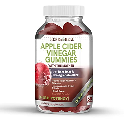 Apple Cider Vinegar Gummies For Weight Loss with Mother, Beet Root & Pomegranate - 1000MG High Potency VEGAN Detox ACV Formula