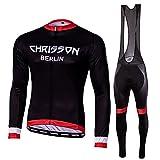 CHRISSON Essential - Conjunto de maillot de ciclismo para hombre, camiseta de manga larga y pantalón largo con acolchado de gel, transpirable y de secado rápido, con cremallera