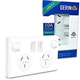 Gerintech Double Powerpoint with 2 USB Ports - Twin Switched Wall Power Outlets, 10A (White) (B07BZJVMMC)   Amazon price tracker / tracking, Amazon price history charts, Amazon price watches, Amazon price drop alerts