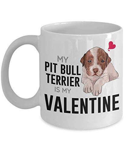 My American Pit Bull Terrier Is My Valentine Mug - Taza de cerámica de té blanco / café para amantes de los perros, niño, niña, amigos, compañero de trabajo - Lindo regalo para Bi 11oz