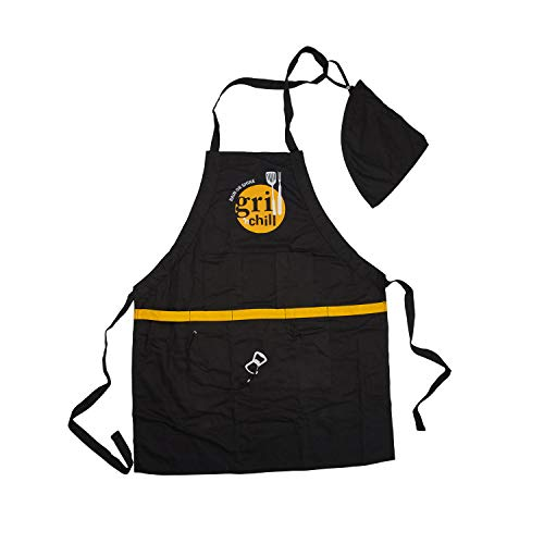silvertree Long Beach Multifunktionsgrillschürze   Länge 89 cm   schwarz   5 Taschen   mit Flaschenöffner   mit Werkzeuggürtel   mit Abnehmbarer Kapuze