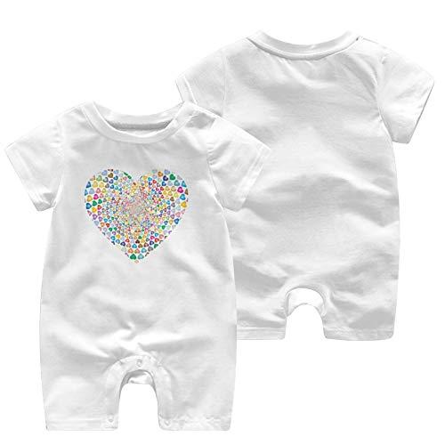 Kgblfd Prismatic Hearts Vortex - Mono para recién nacidos (algodón), diseño de corazones, color blanco