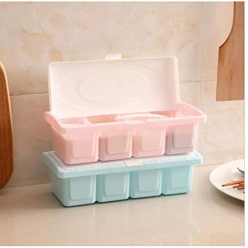 Würzen Würze Box Kunststoff Gewürzregal Gewürz Box Set Gewürzvorratsdose Löffel Menage Gläser Für Spice Salz Zucker Menage Zufällige Farbe