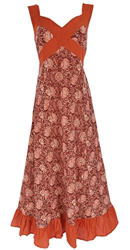 Guru-Shop Sommerkleid, Maxikleid, Strandkleid, Damen, Rostrot, Baumwolle, Size:M/L (40), Lange & Midi-Kleider Alternative Bekleidung