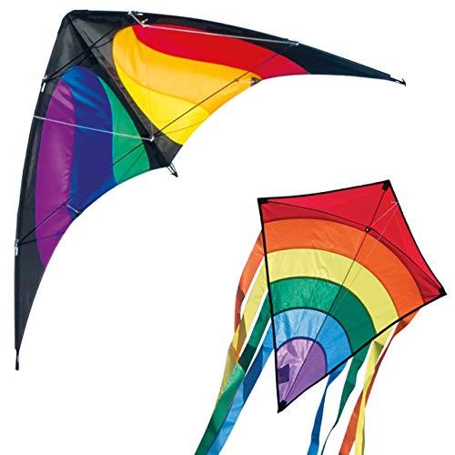 CIM Drachenset Rainbow - NUNCHAKU Rainbow MUSTHAVE & Rainbow Eddy RED - komplett flugfertig - ideal für Familienausflüge und gemeinsame Aktivitäten