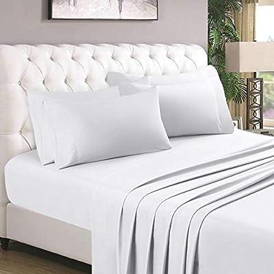 HOMEIDEAS 6 Piece Bed Sheet Set (King, White), 100% Brushed Microfiber 1800 Bedding Sheets - Deep Pockets