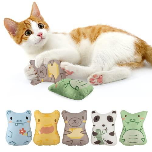 Catnip Mascota de Juguete, 5 Piezas Hierba Gatera Juguete, Juguete Felpa Catnip, Juguete Interactivo Masticable Anti-Mordida para Gatos, 5 Lindos Estilos Diferentes Adecuados para Todos los Gatos (B)