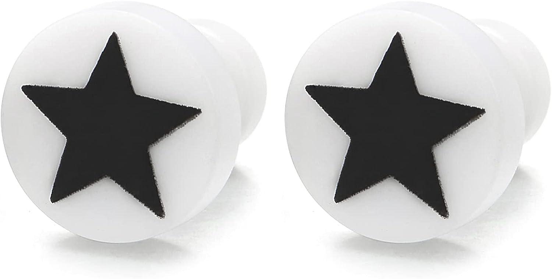White Circle Stud Earrings with Black Pentagram Star, Steel Cheater Fake Ear Plugs Gauges Illusion