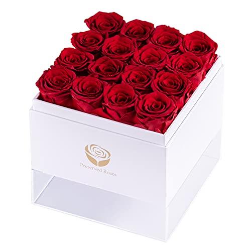 Sunia Rosa preservada, Rosa Regalo para Ella - Hecho a Mano Real Rose Eternal Romántico Regalo para Novia Mamá Esposa Aniversario Navidad Boda Día de la Madre Regalo del día de San Valentín