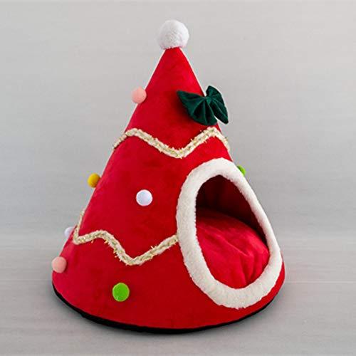 Katzenbett mit Weihnachtsmotiv, bequem, für Kätzchen und Hunde, niedlicher Stil, weiches Plüschmaterial, Größe S, Rot