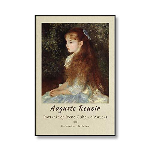 Famoso cartel de la exposición de August Renoir, retrato, imagen de impresión Vintage, pintura en lienzo sin marco familiar, A2 40x60cm