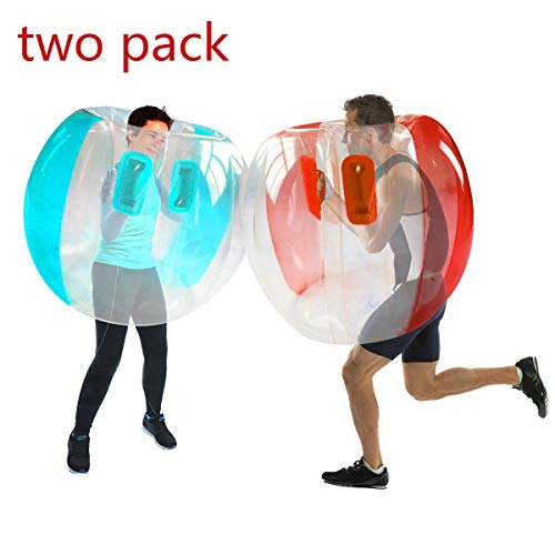 SUNSHINEMALL 2 PC Bumper Balls, Inflatable Body Bubble Ball Sumo Bumper Bopper Toys, Heavy Duty Durable PVC Vinyl Kids Adults Physical Outdoor Active Play (36inch, Upgrade red+Blue)