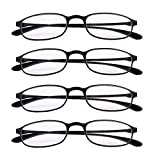 4 PRS Reading Glasses +150 Eyeglasses Lightweight Slim Black Frame