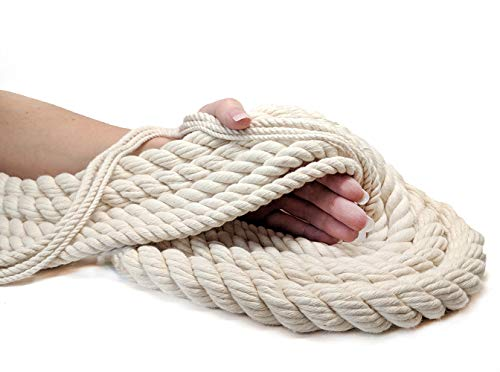 Ravenox 100% Cotton Twisted Rope | (White)(1 in x 10 ft) |USA Made Natural Cord | Baker & Butchers Twine, Macramé, Knotting, Crafts, Pet Toys