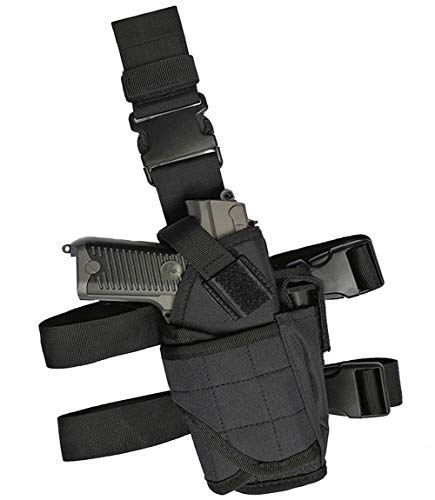 GHFY Molle Tactical Pistol Thigh Gun Holster, Drop Leg Holster, Right Hand Adjustable (Black)