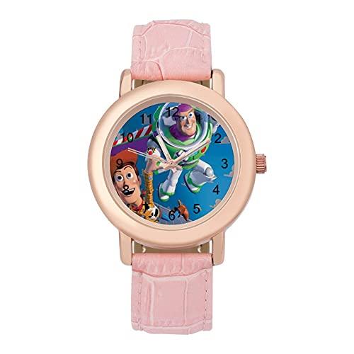 Toy StoryLadies Reloj de cuarzo de cuero con correa 2266 espejo de cristal redondo rosa accesorios casuales moda temperamento 1.5 pulgadas