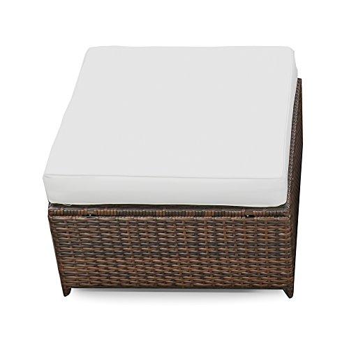 XINRO® erweiterbares 15tlg. Balkon Polyrattan Lounge Ecke - braun - Sitzgruppe Garnitur Gartenmöbel Lounge Möbel Set aus Polyrattan - inkl. Lounge Sessel + Ecke + Hocker + Tisch + Kissen - 6