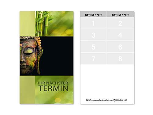 100 Terminkarten, 8 Termine pro Karte = 800 Termine, Scheckkartenformat. Für Massage Wellness Kosmetik Naturheilkunde. Vorderseite glänzend. MA783