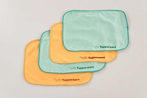 TUPPERWARE FaserPro Durchblick türkis (2) + orange (2) Brillenputztuch Putztuch