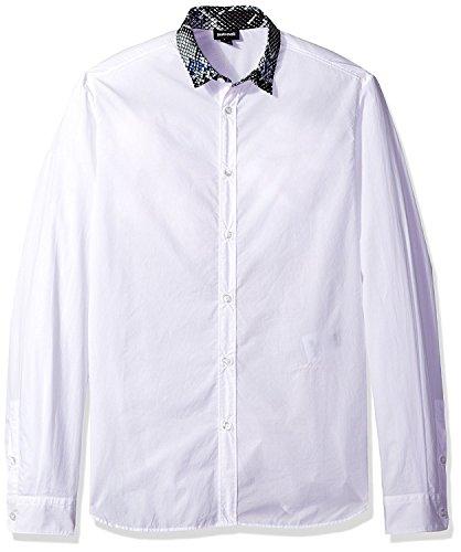 Just Cavalli Herren Hemd mit Schlangenaufdruck, Weiß - Weiß - 58 DE (S)