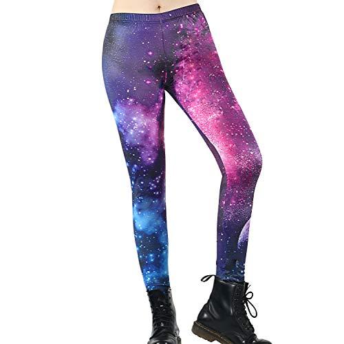 TSWRK Damen Galaxy Leggings Digital gedruckt Engen Leggings Hosen Render Hosen für Frauen Mädchen Teen