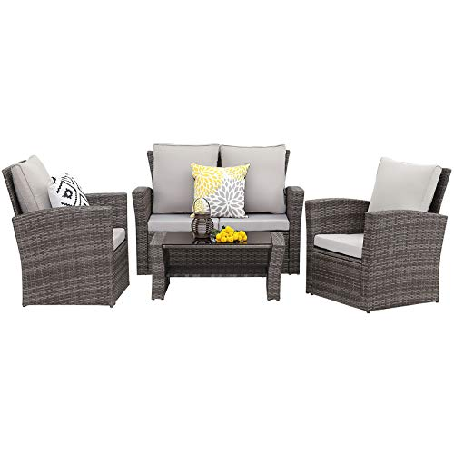 Wisteria Lane 4 Piece Outdoor Patio Furniture Sets, Wicker Conversation Set for Porch Deck, Gray Rattan Sofa Chair with Cushion