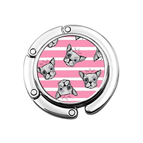 Cabezas de Perro Bulldog King Crown Bolsa de suspensión Gancho de Mesa Bolsas de suspensión para Mujeres Diseños únicos Sección Plegable