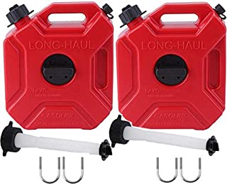 ORANDESIGNE Set of 2 ATV Gas Can 1.3 Gallon Portable Gas Container Storage with Pack Mount Replacement Spouts Kit Emergency Backup Fuel for Motorcycle SUV ATV Dirt Bike Car BoatVehicle, Red (2Pack)