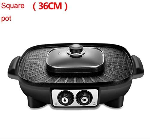 HYISHION BBQ Grill Elettrico Pan con Hot Pot 2 in 1 Senza Fumo Griglia for Barbecue casa Non Stick Teppanyaki Piastra Calda Piastra (Dimensione: XL) SKYJIE (Size : L)