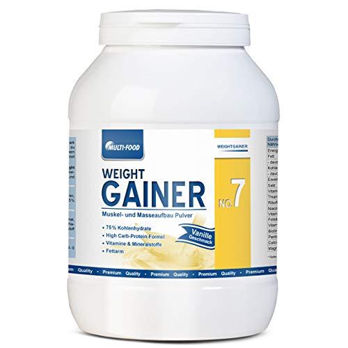 Weight Gainer No. 7, Mass Gainer, Kohlendydrate Pulver für zunehmen Gewicht schnell, aufbauen Gewichtszunahme, Muskelaufbau Pulver, Aufbaunahrung von Multi-Food (Vanille, 1500g)