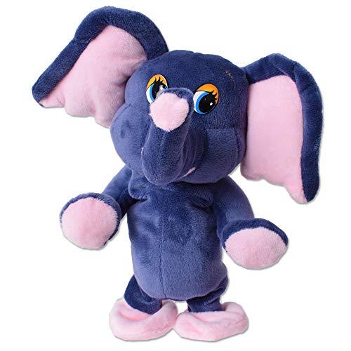 TE-Trend Sprechendes Laufendes Tier Elefant Labertier Nachplapper Plüschtier Nachsprechend 20cm Blau Rosa