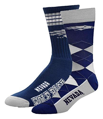 For Bare Feet NCAA 2-Pack Socks, 4 Stripe Deuce & Argyle Lineup, Nevada-Reno, Large