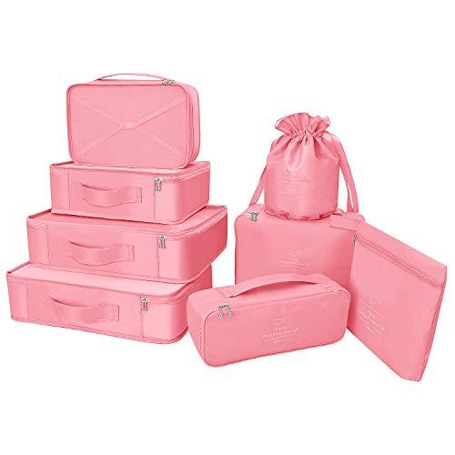Koffer Organizer Reise Kleidertaschen 8 Sets/7 Farben Travel Gep?ck Organisatoren enthalten wasserdichte Schuh-Aufbewahrungsbeutel Bequeme Kompressions Beutel für Reisen ,Peach Pink