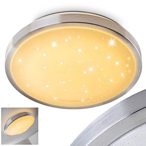 LED Deckenleuchte Sora STAR, runde Deckenlampe mit Sternenhimmel-Effekt aus Metall in Aluminium gebürstet, 18 Watt, Lichtfarbe 3000 Kelvin (warmweiß), IP 44, auch für das Badezimmer geeignet