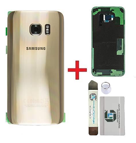 iTG® Original Akkudeckel Reparatur-Set für Samsung Galaxy S7 Edge Gold (Gold Platinum) - Original Samsung Rückseite Batterieabdeckung für SM-G935F + Vormontierte 3M Klebefolie + Werkzeug-Set