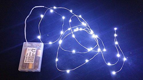 100 microLED lineales de luces blancas frías, con pilas, luces de Navidad, adornos para Belén