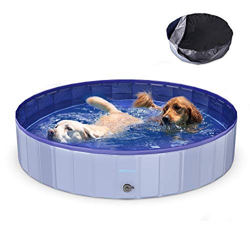 Funyole Foldable Dog Pool, 63'' Portable Dog Pet Pool Bathing Tub Kiddie Pool with Pool Cover, Indoor & Outdoor Leakproof Swimming Pool for Dogs Cats & Kids