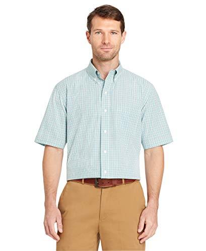 Arrow 1851 Men's Tall Hamilton Poplin Short Sleeve Button Down Plaid Shirt, Aqua Haze, 4X-Large Big