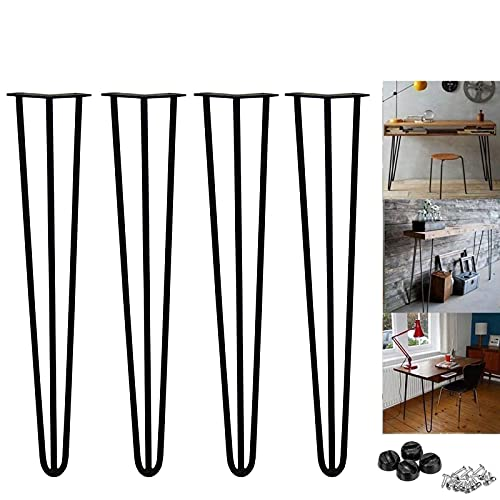 28 inch Metal Table Legs 71cm Black Steel Hairpin Table Leg Sturdy 3 Rod Mid Century Modern Furniture Industrial Style 10mm for Desk Dining Table DIY Furniture, with Protector Feet & Screws (Set of 4)