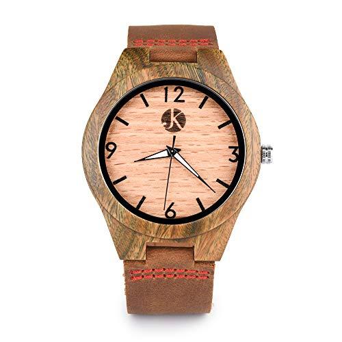 Kim Johanson Herren Sandelholz Armbanduhr *Brown Sugar* in Braun mit Echtem Lederarmband Handgefertigt Quarz Analog Uhr inkl. Geschenkbox