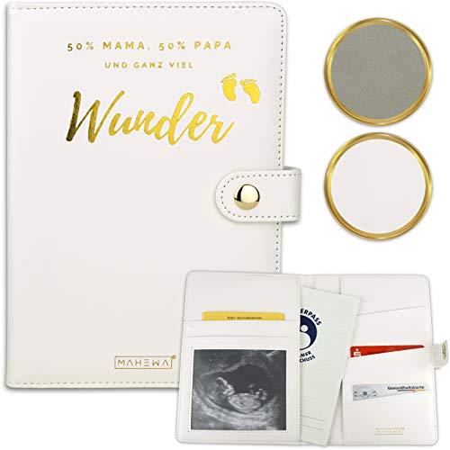 MAHEWA® Premium Mutterpasshülle aus Leder-Imitat mit Fach für Ultraschallbilder - Mutter-Kind-Pass Schutzhülle, Mutterpass-Tasche und Mutterpass-Organizer - Geschenk zur Schwangerschaft Cremeweiß-Gold