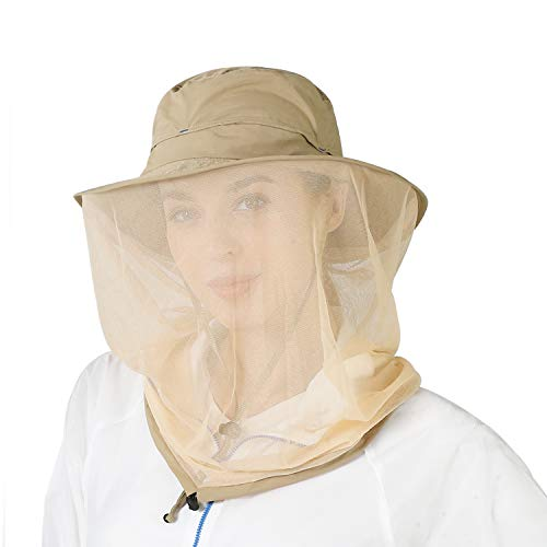 ASY Outdoor Anti-Mosquito Head Net Hat Face Protection Sun Hat Insect Netting,Bug Face Cover Cap for Men and Women Kakhi