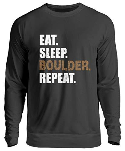 generisch Eat Sleep Boulder Repeat Kletterhalle Klettern Boulderwand Climbing Bouldern Kletterwand - Unisex Pullover -3XL-Jet Schwarz