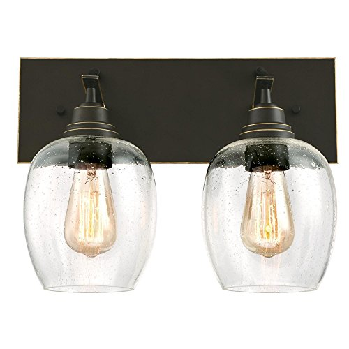 Westinghouse Lighting 6333300 Eldon Two-Light Indoor Wall Fixture, Oil Rubbed Bronze Finish with Highlights and Clear Seeded Glass