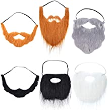 WILLBOND 6 Pieces Fake Beards Mustaches Halloween Beard Funny Fake Beard Costume Accessories Party Supplies for Adult Kids, Multicolored, Medium