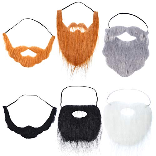 WILLBOND 6 Pieces Fake Beards Mustaches Christmas Halloween Beard Adult Kid (Mixed Style)
